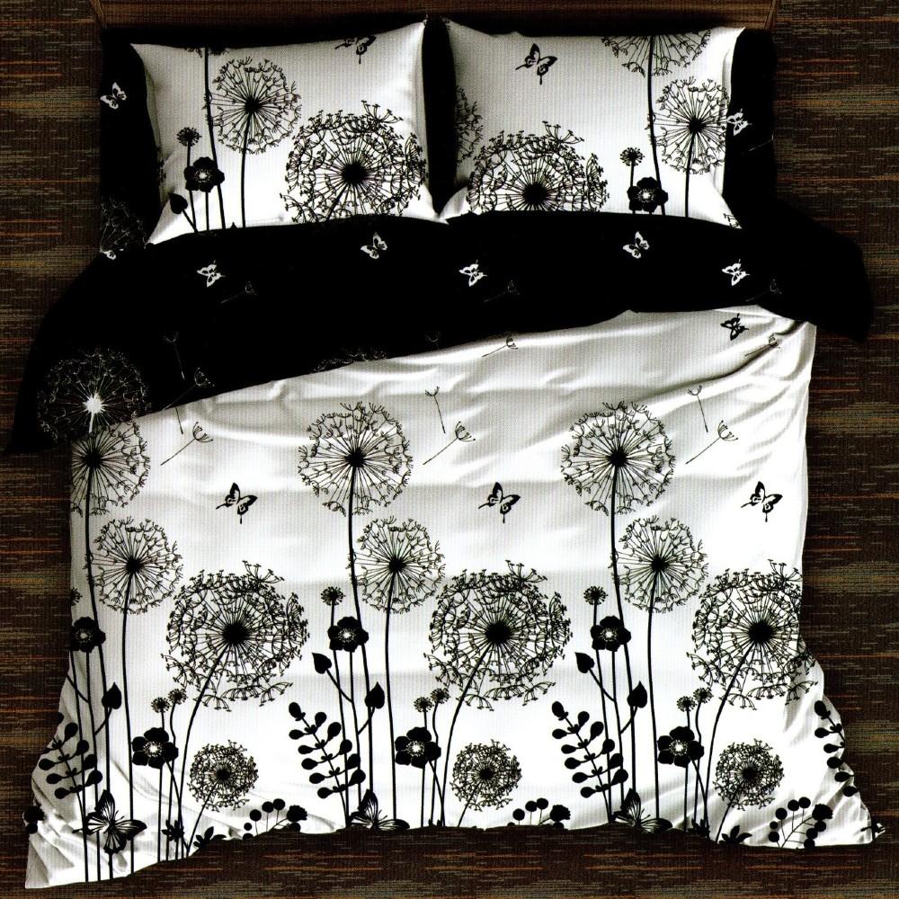 lenjerie alba cu flori negre