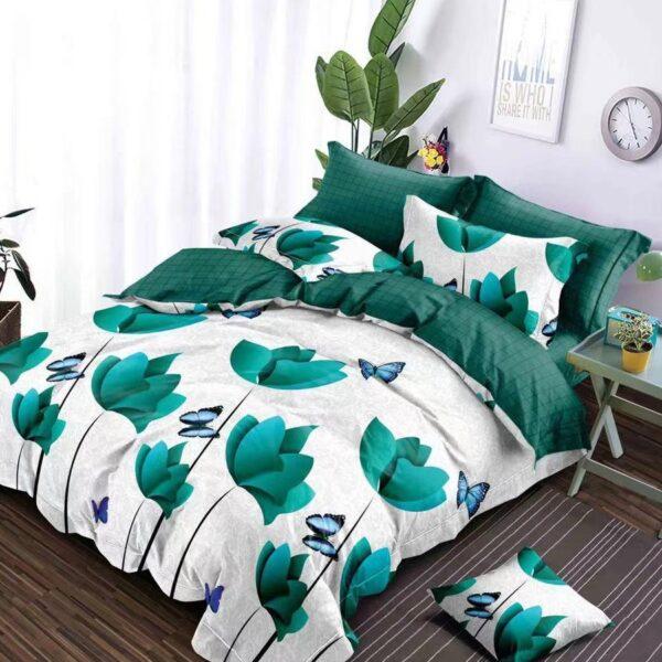 lenjerie alba cu flori turcoaz si verde