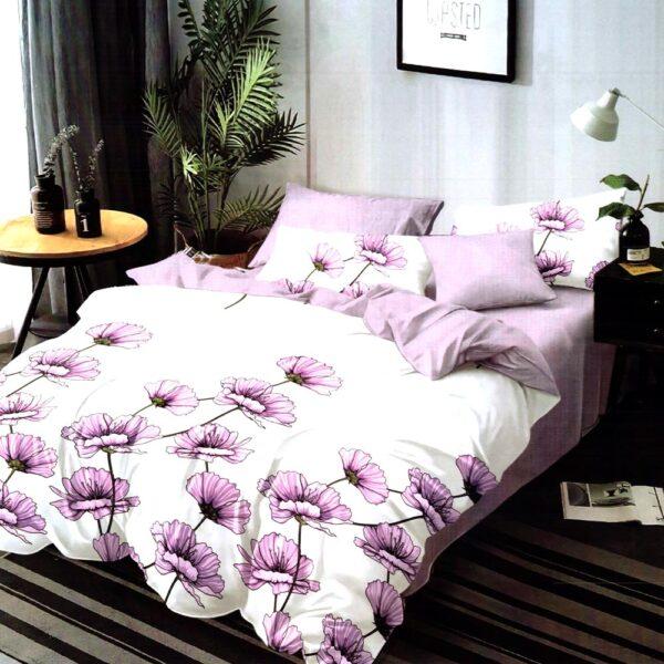 lenjerie alba cu flori violet