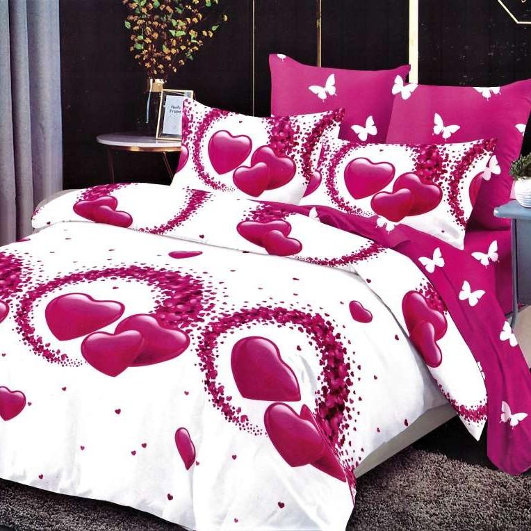lenjerie alba cu inimioare roz