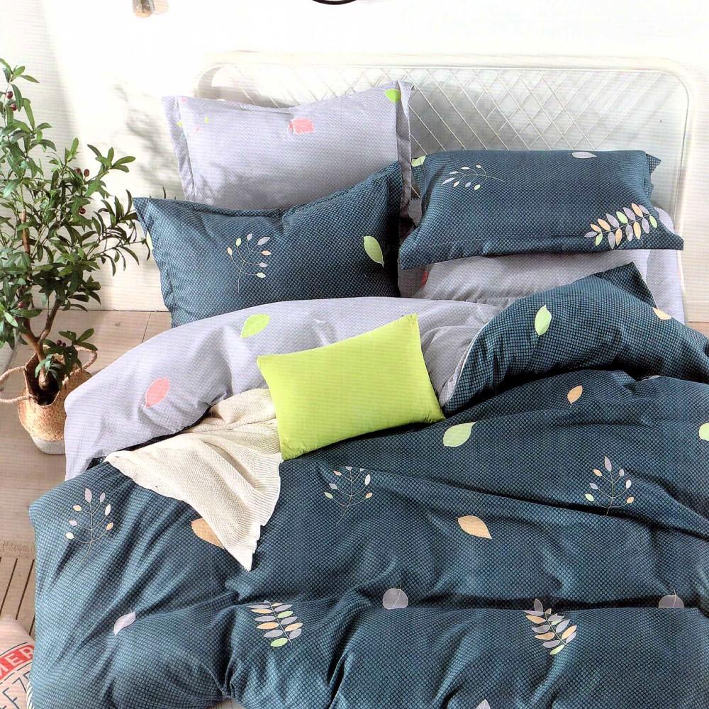lenjerie de pat finet albastra cu frunze