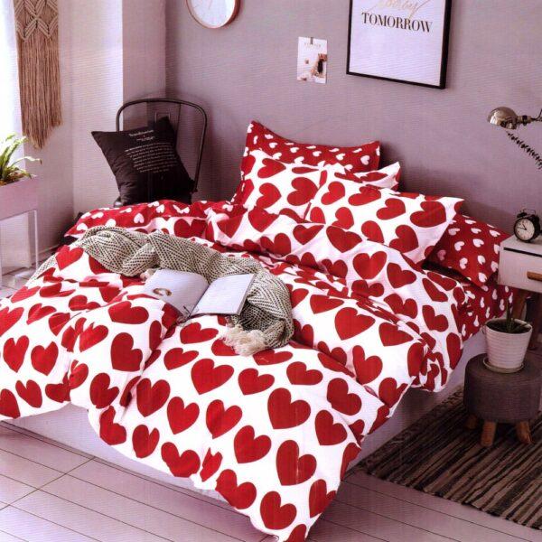 lenjerie de pat finet satinat alba cu inimioare rosii