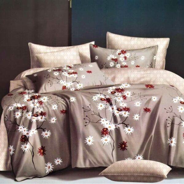 lenjerie maro cu flori albe