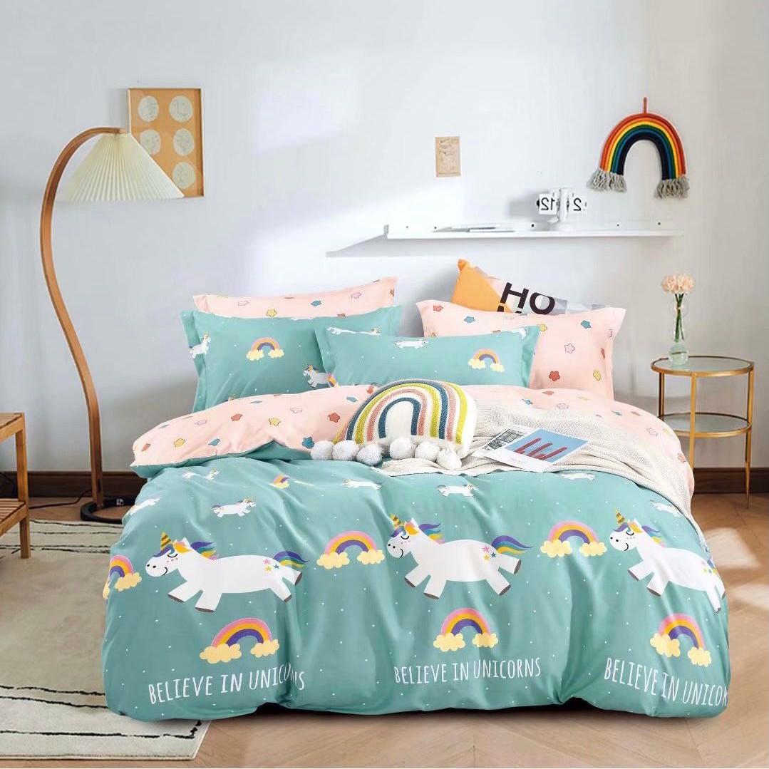 lenjerie pentru copii cu unicorni 2 fete