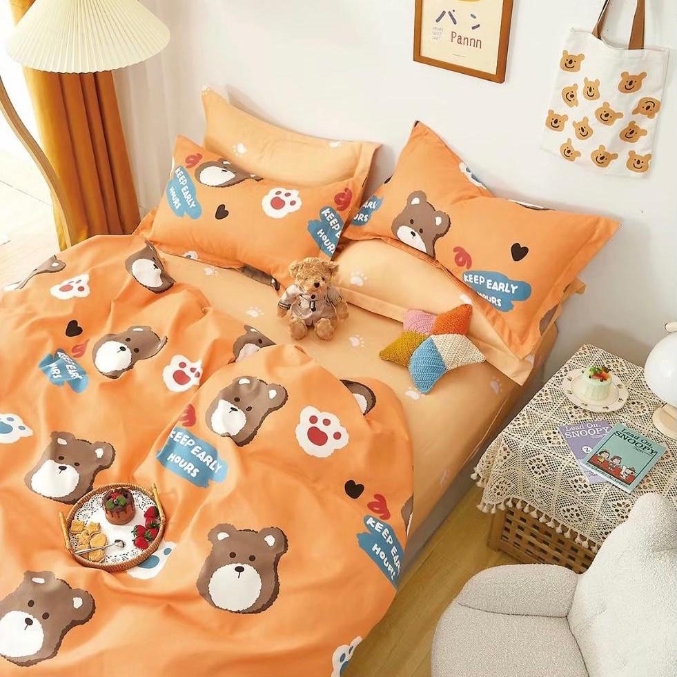 lenjerie pentru copii portocalie cu ursuleti