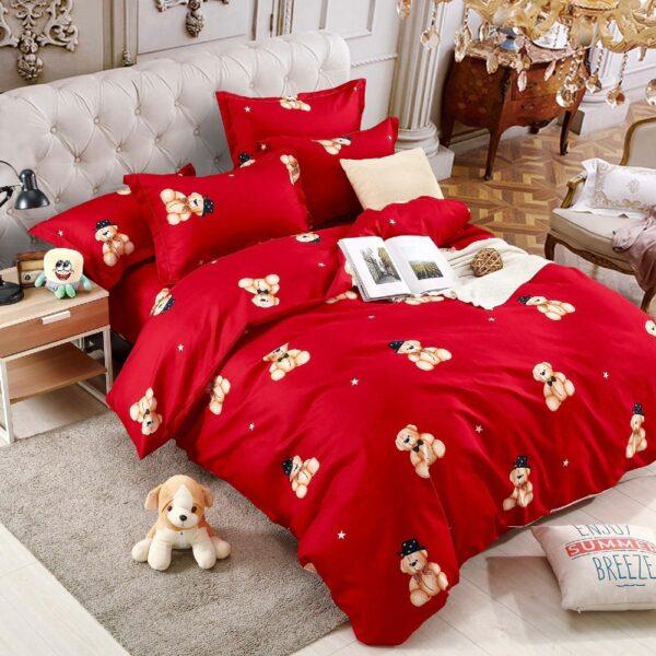 lenjerie pentru copii rosie cu ursuleti