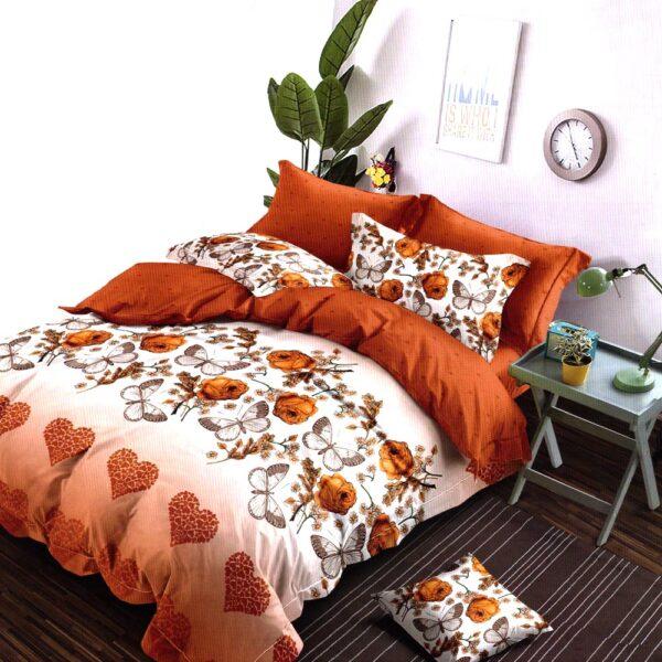 lenjerie portocalie cu inimioare si flori