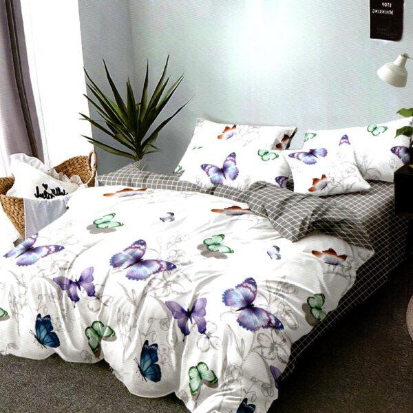 Lenjerie de pat cu fluturi bumbac satinat superior