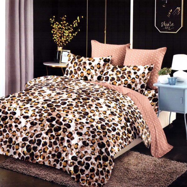 Lenjerie de pat din Finet Gros, Cearceaf cu elastic, 6 Piese, Pat 2 Persoane - Super Elegant Pucioasa - PUF9455