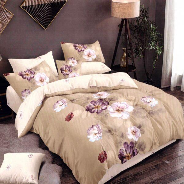 Lenjerie de pat din Finet Gros, Cearceaf cu elastic, 6 Piese, Pat 2 Persoane - Super Elegant Pucioasa - PUF9457