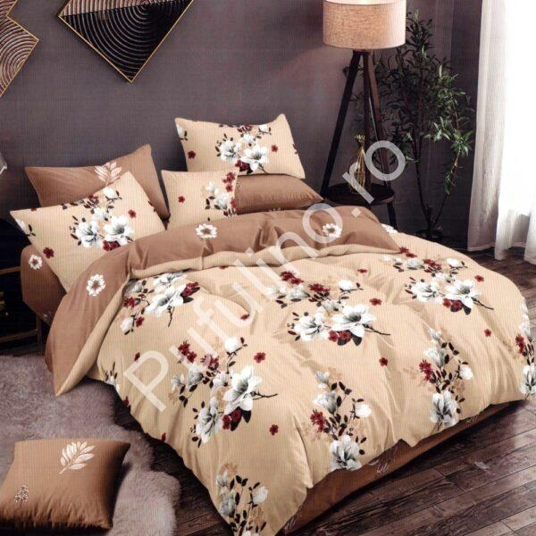 Lenjerie de pat din Finet Gros, Cearceaf cu elastic, 6 Piese, Pat 2 Persoane - Super Elegant Pucioasa - PUF9458
