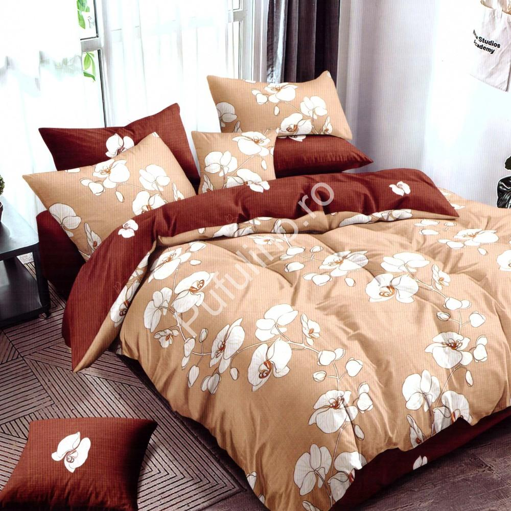 Lenjerie de pat din Finet Gros, Cearceaf cu elastic, 6 Piese, Pat 2 Persoane - Super Elegant Pucioasa - PUF9563