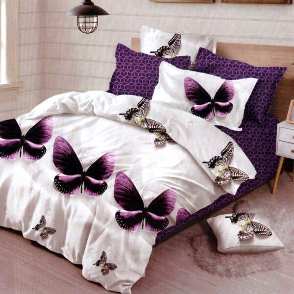 Lenjerie de pat din Finet Gros, Cearceaf cu elastic, 6 Piese, Pat 2 Persoane - Super Elegant Pucioasa - PUF9568