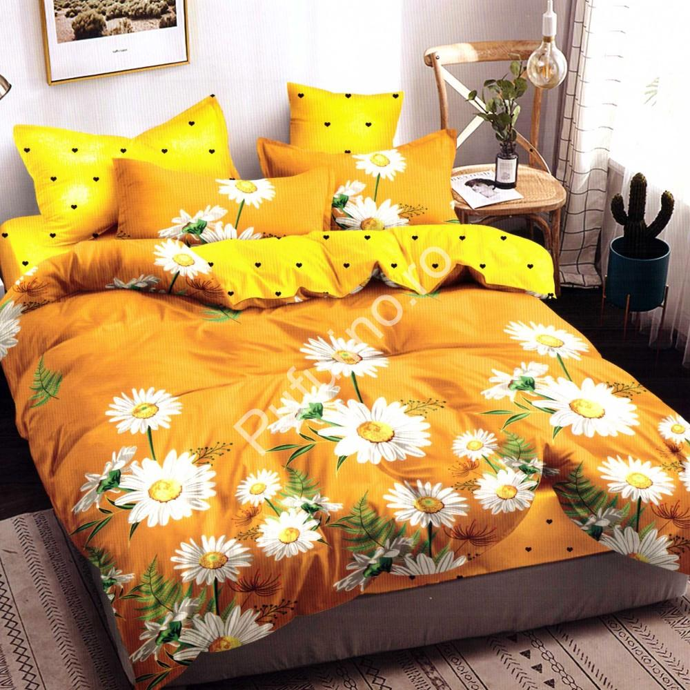Lenjerie de pat din Finet Gros, Cearceaf cu elastic, 6 Piese, Pat 2 Persoane - Super Elegant Pucioasa - PUF9453