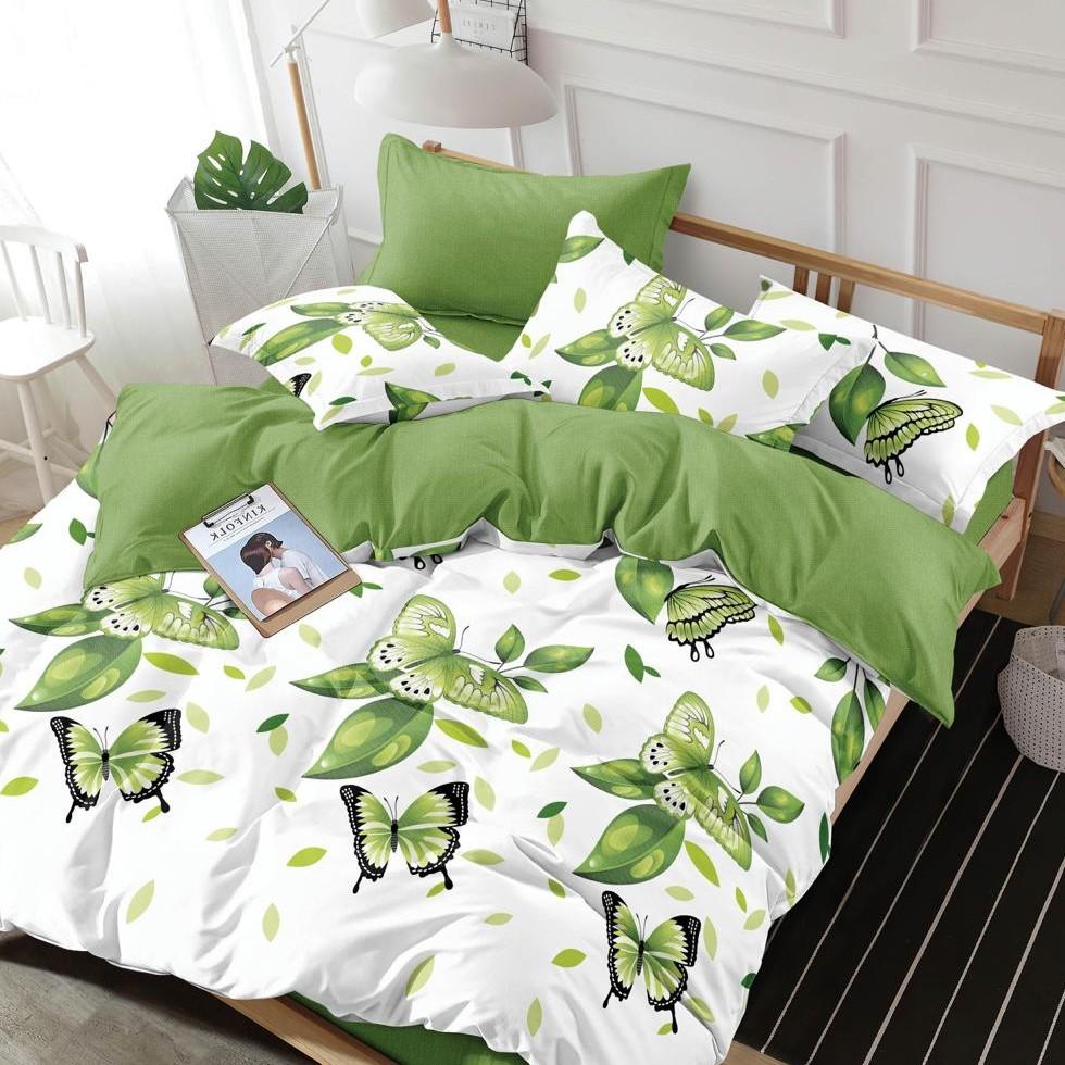 lenjerie alb-verde cu fluturi