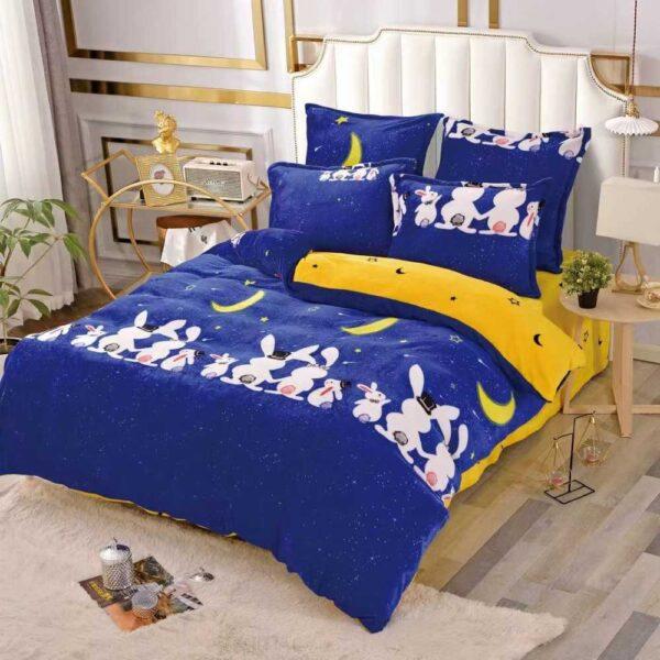 lenjerie cocolino albastra cu iepurasi