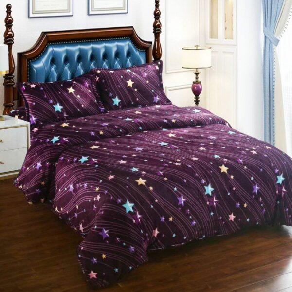 lenjerie cocolino violet cu stelute