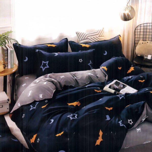 lenjerie de pat bumbac satinat albastra