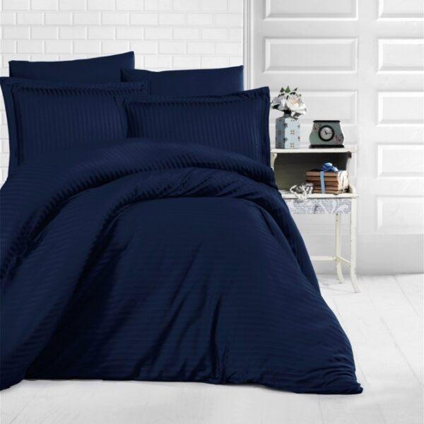 lenjerie de pat damasc bleumarin