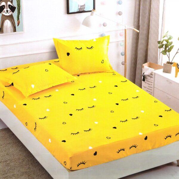 Husa de pat cu elastic din Bumbac Finet + 2 Fete de Perna, Jo Jo Design, Pat 2 Persoane - PUF9714