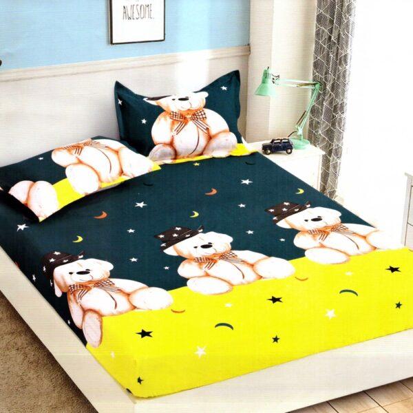 Husa de pat cu elastic din Bumbac Finet + 2 Fete de Perna, Jo Jo Design, Pat 2 Persoane - PUF9717