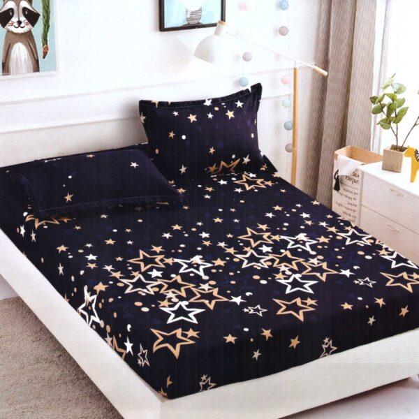 Husa de pat cu elastic din Bumbac Finet + 2 Fete de Perna, Jo Jo Design, Pat 2 Persoane - PUF9726