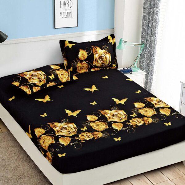 Husa de pat neagra cu trandafiri galben