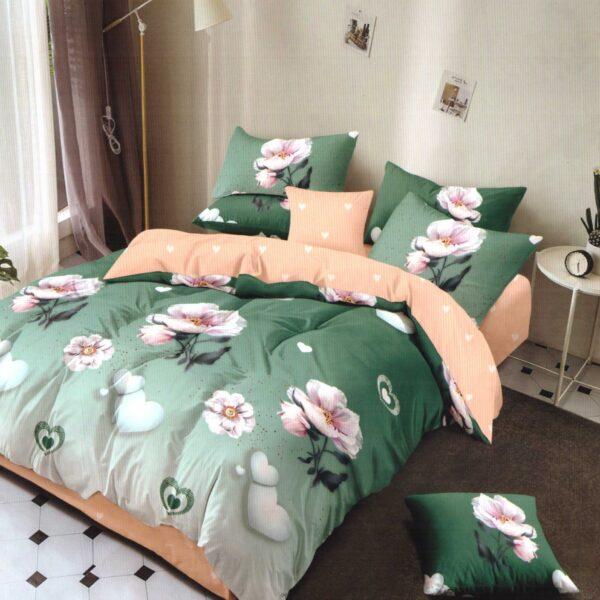 Lenjerie crem cu verde si flori albe cu cearceaf elastic