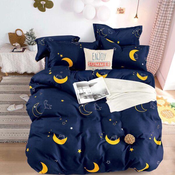 Lenjerie de pat bleumarin cu luna galbena