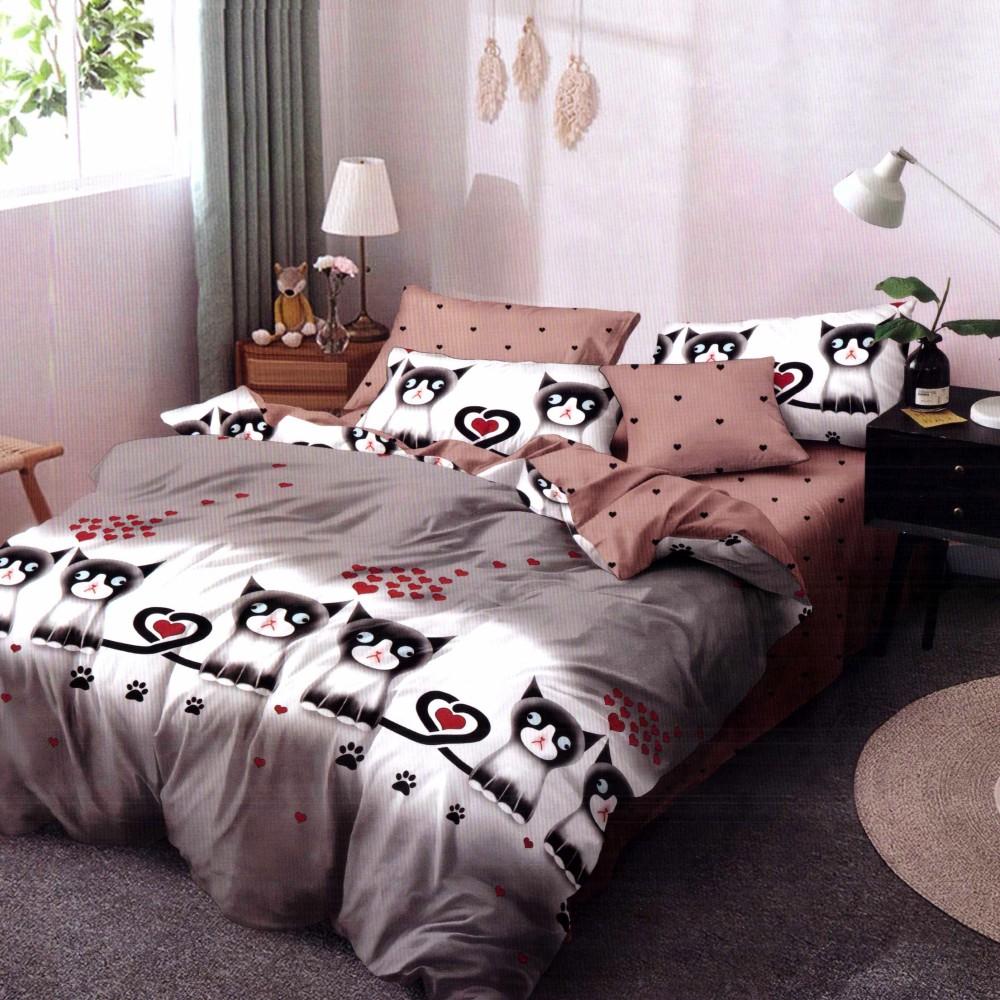Lenjerie de pat din Finet Gros, Cearceaf cu elastic maro