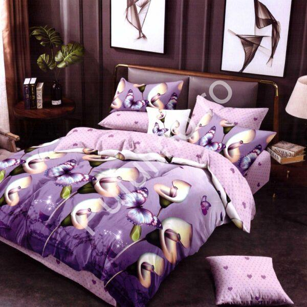 Lenjerie de pat din Finet Gros, Cearceaf cu elastic mov