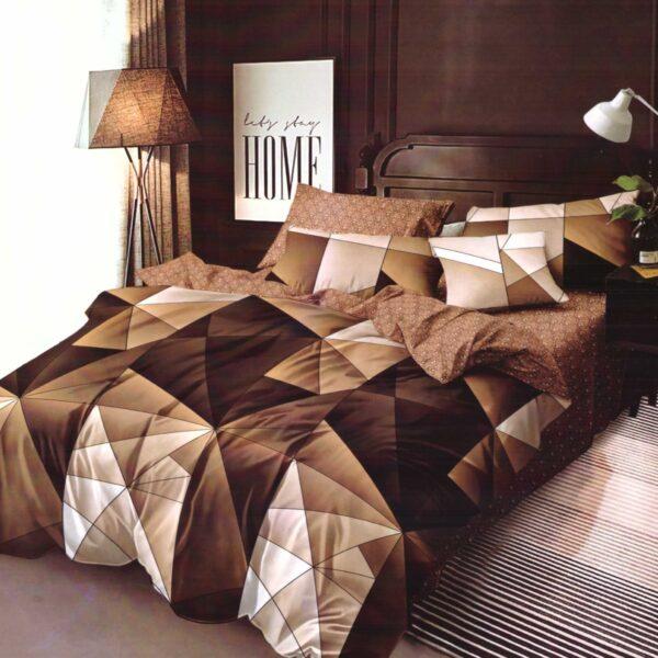 Lenjerie maro cu forme geometrice cearceaf cu elastic