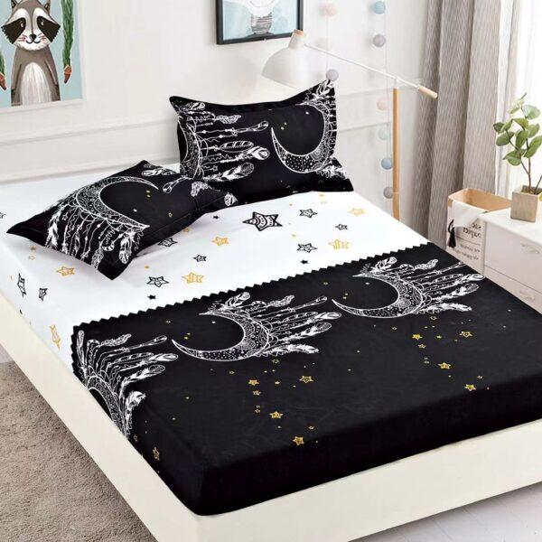 husa de pat alb negru cu ornamente si stelute