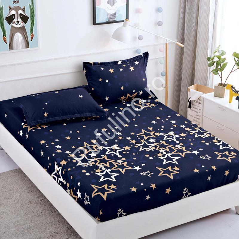 husa de pat bleumarin cu stelute