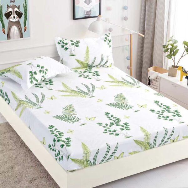 husa de pat cu elastic alba cu frunze verzi