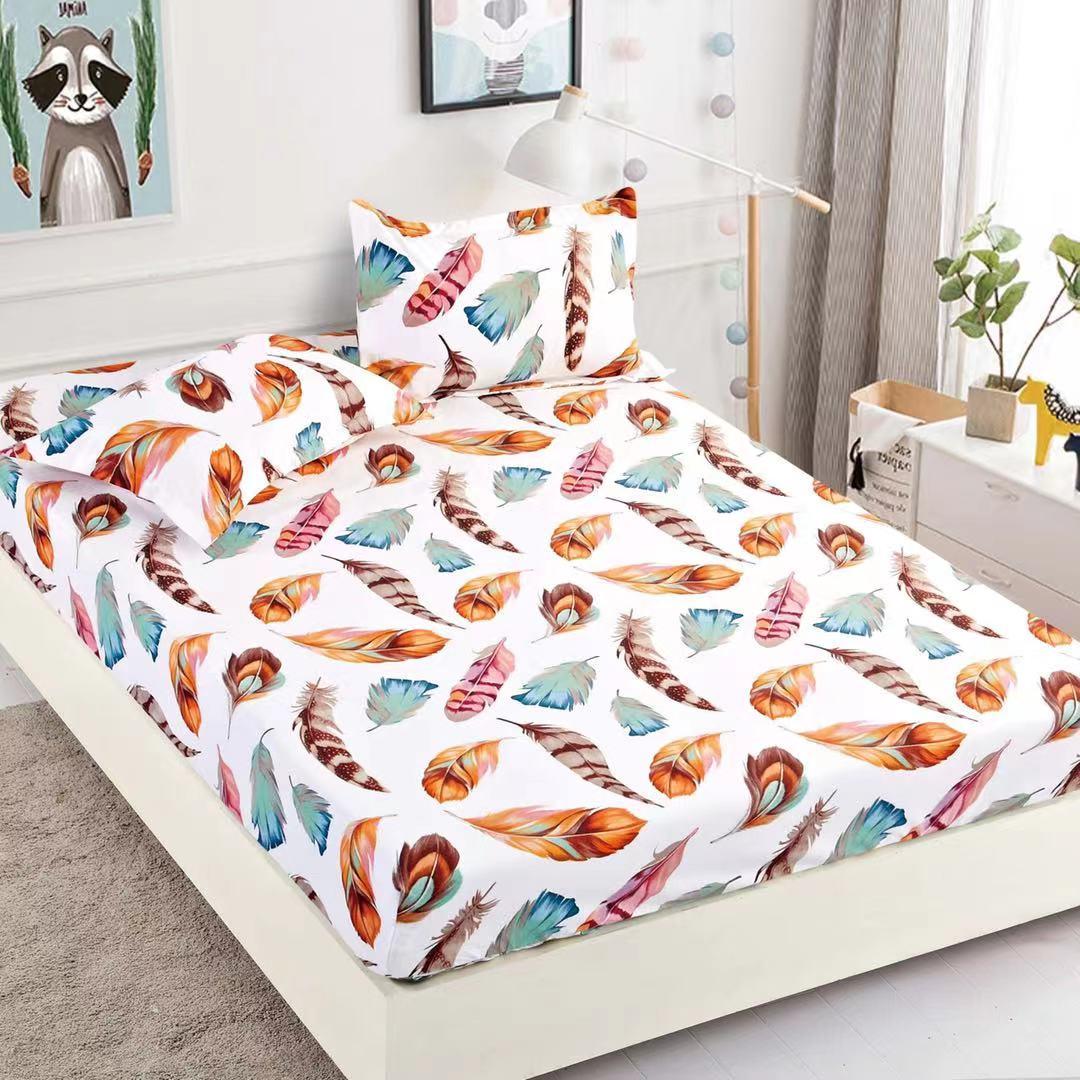 husa de pat cu elastic alba cu fulgi colorati