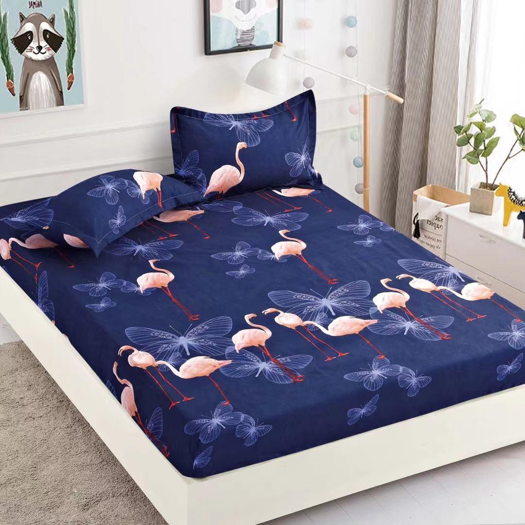 husa de pat cu elastic albastra cu flamingo