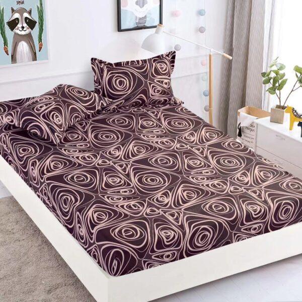 husa de pat cu elastic maro cu ornamente abstracte