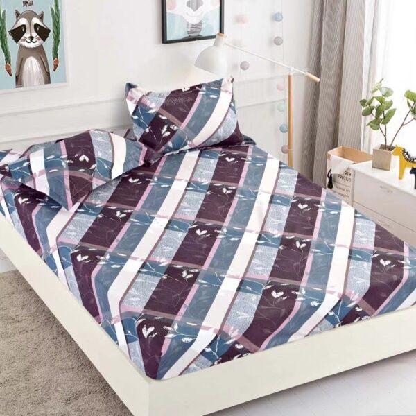 husa de pat cu elastic mov si albastru