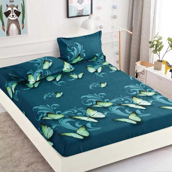 husa de pat cu elastic verde cu fluturi
