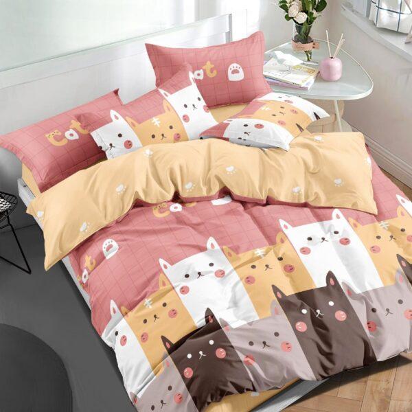 lenjerie cu pisicute roz si galben
