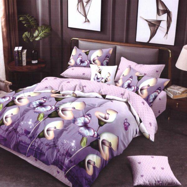 lenjerie violet cu orhidee
