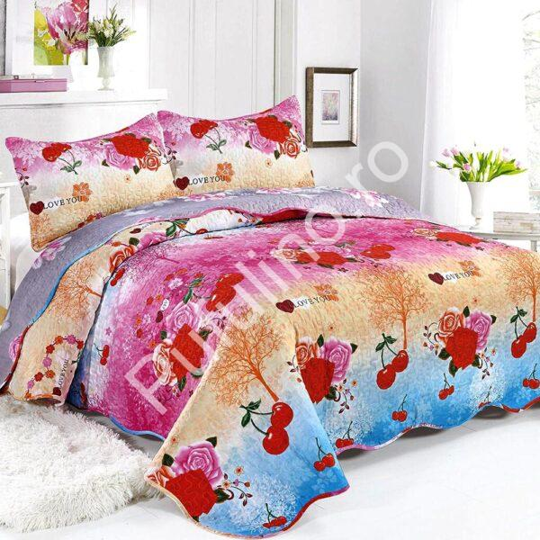 cuvertura de pat cu flori si cirese