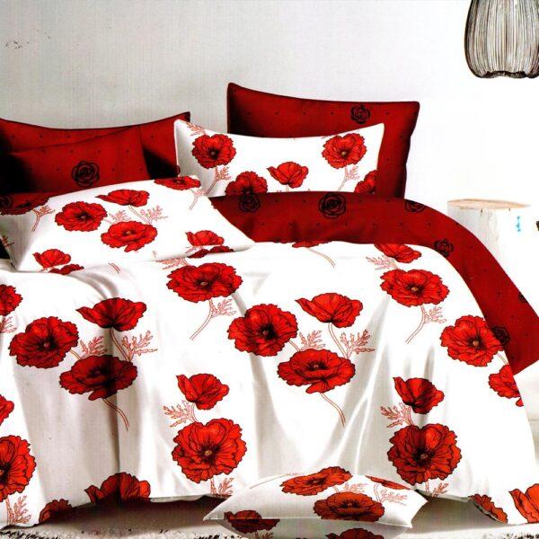 lenjerie alba cu maci rosii