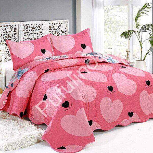 cuvertura de pat roz cu inimioare