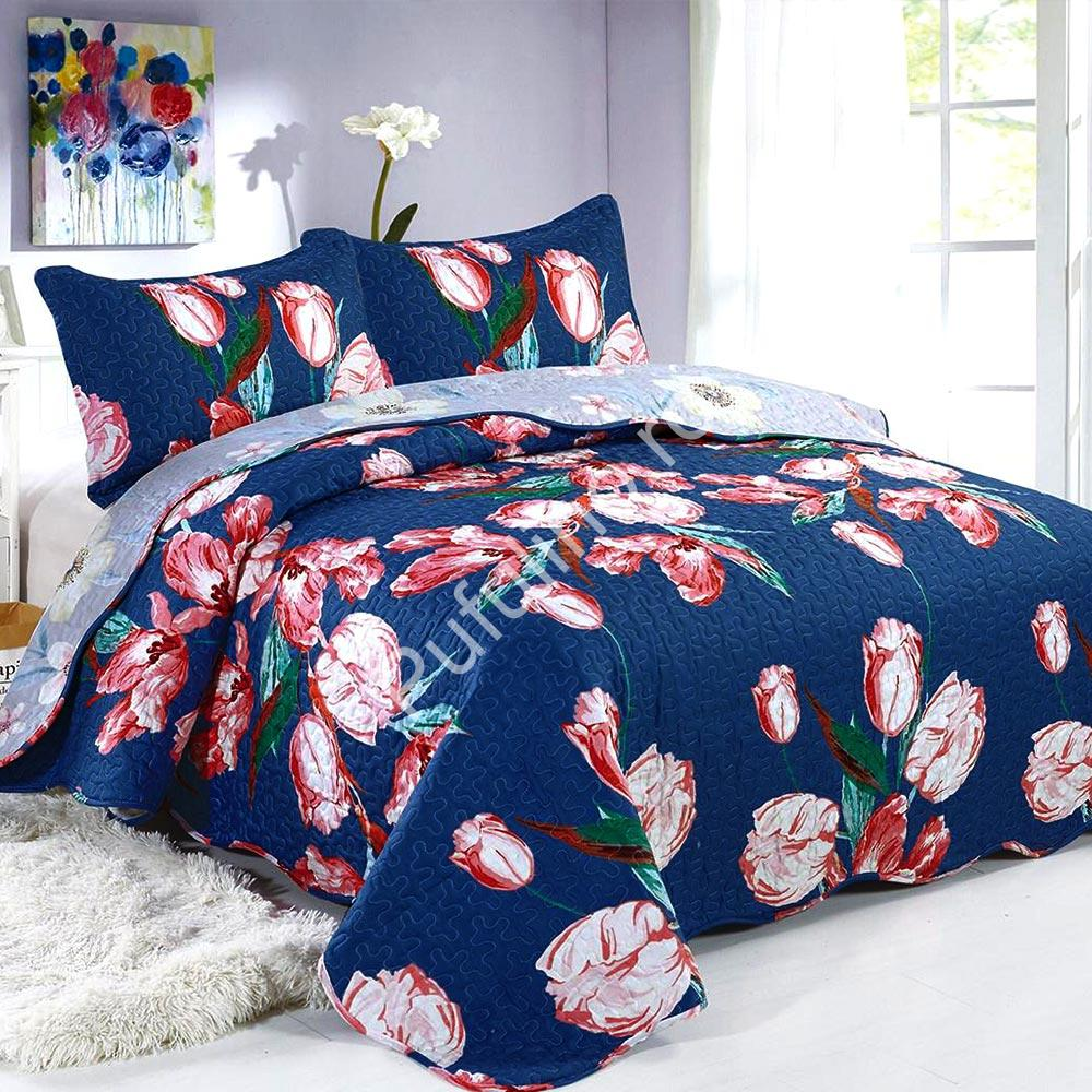 cuvertura de pat bleumarin cu flori colorate
