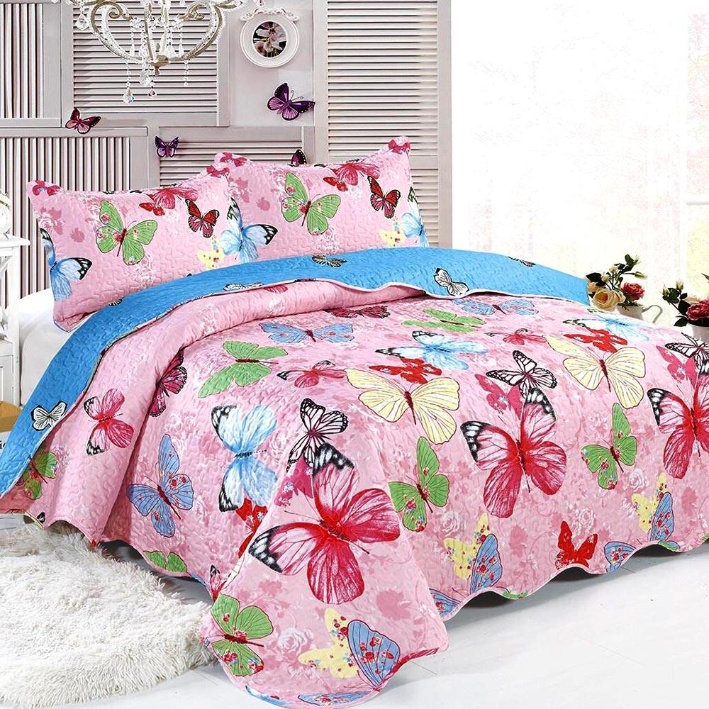 cuvertura de pat multicolora cu fluturi