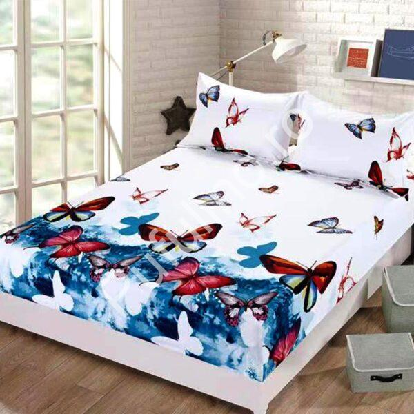 husa de pat cu elastic din finet model cu fluturi