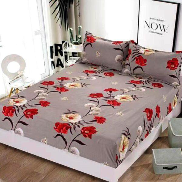 husa de pat cu elastic model cu flori colorate