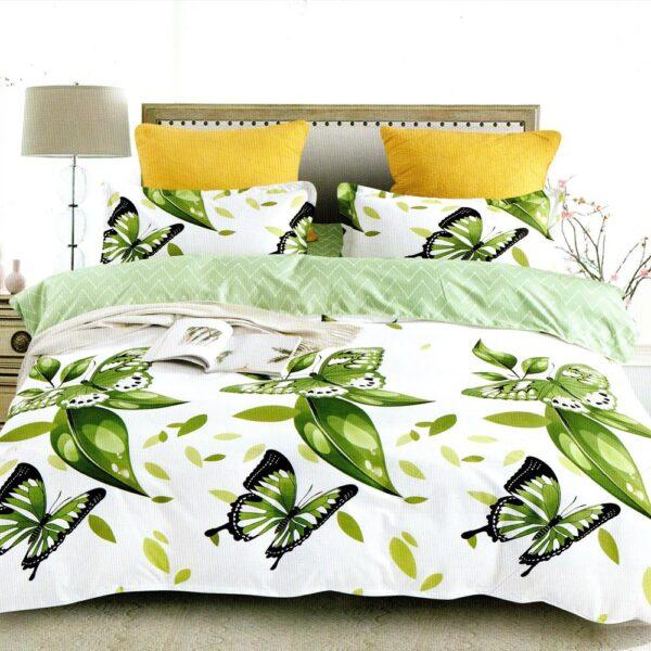 lenjerie alba cu fluturi verzi